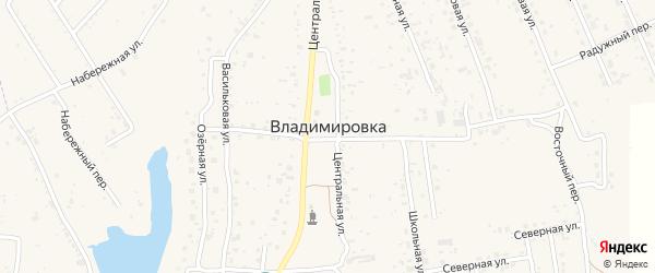 Переулок Центральный 3 на карте села Владимировки с номерами домов