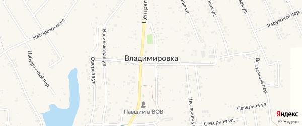 Тенистая улица на карте села Владимировки с номерами домов