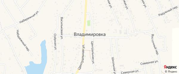 Магистральный переулок на карте села Владимировки с номерами домов