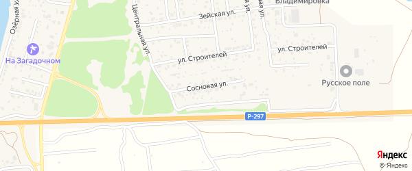Сосновая улица на карте села Владимировки с номерами домов