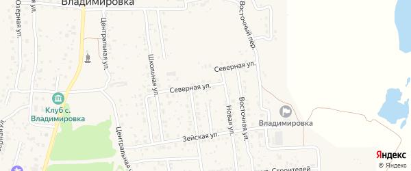 Северная улица на карте села Владимировки с номерами домов