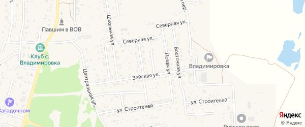 Ейский переулок на карте села Владимировки с номерами домов