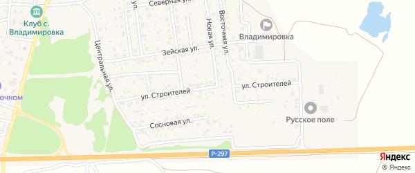 Улица Строителей на карте села Владимировки с номерами домов