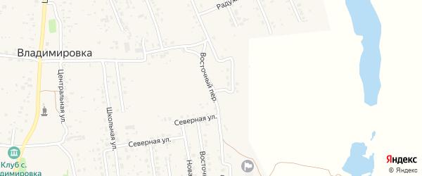Восточный переулок на карте села Владимировки с номерами домов
