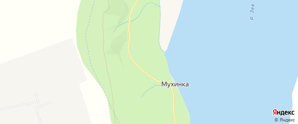 Карта поселка Мухинки города Благовещенска в Амурской области с улицами и номерами домов