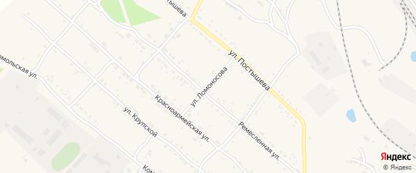 Улица Ломоносова на карте Шимановска с номерами домов
