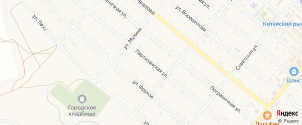 Партизанская улица на карте Шимановска с номерами домов