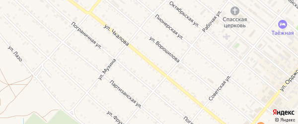 Улица Чкалова на карте Шимановска с номерами домов