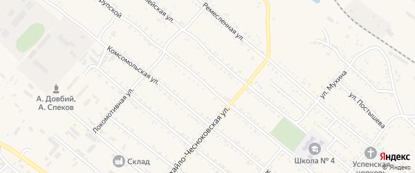 Улица Крупской на карте Шимановска с номерами домов