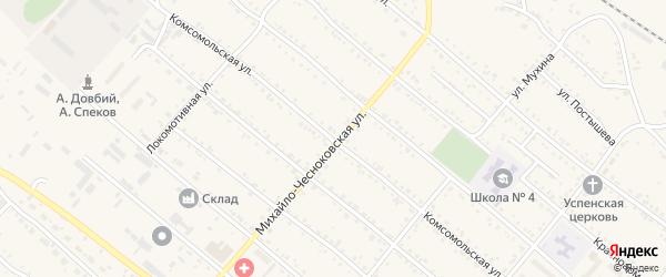 Комсомольская улица на карте Шимановска с номерами домов