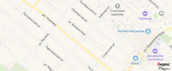 Улица Ворошилова на карте Шимановска с номерами домов
