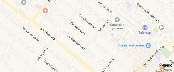 Пионерская улица на карте Шимановска с номерами домов