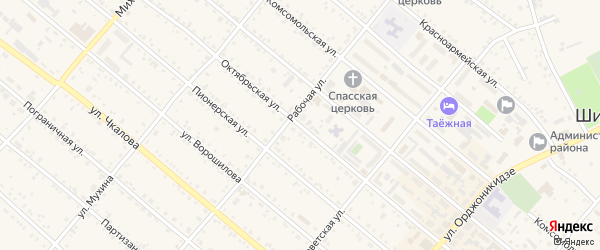Октябрьская улица на карте Шимановска с номерами домов