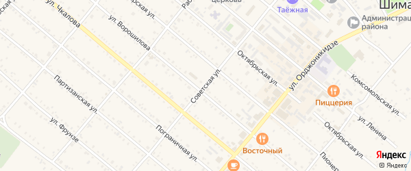 Советская улица на карте Шимановска с номерами домов