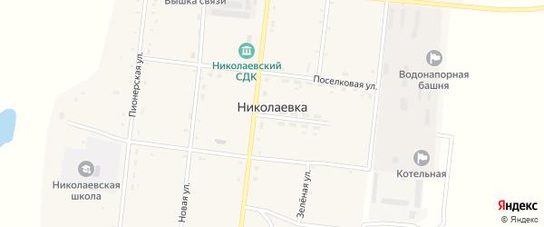 Поселковая улица на карте села Николаевки с номерами домов