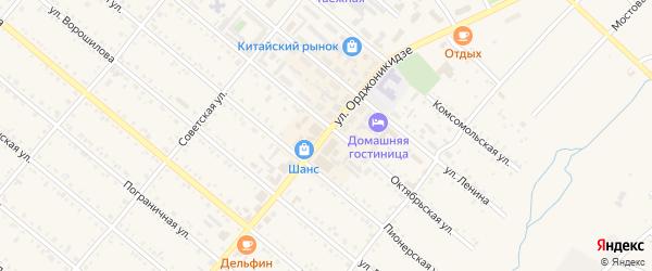 Улица Орджоникидзе на карте Шимановска с номерами домов