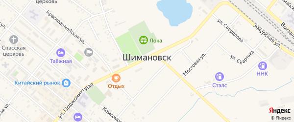 Поселок Строитель на карте Шимановска с номерами домов