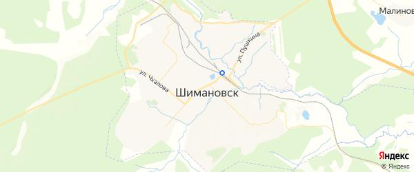 Карта Шимановска с районами, улицами и номерами домов