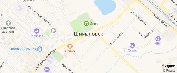 Клубный переулок на карте Шимановска с номерами домов