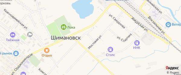 Улица Крылова на карте Шимановска с номерами домов
