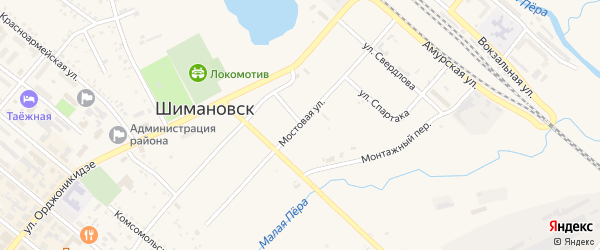 Мостовая улица на карте Шимановска с номерами домов