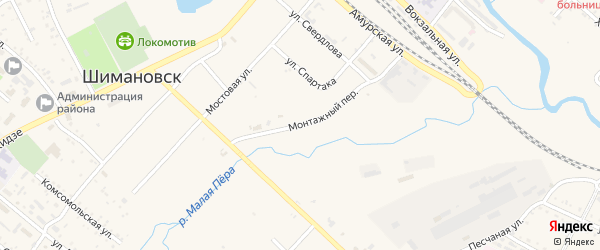 Монтажный переулок на карте Шимановска с номерами домов