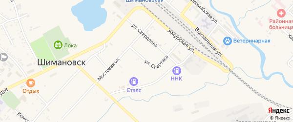 Улица Спартака на карте Шимановска с номерами домов