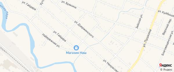 Тургеневский переулок на карте Шимановска с номерами домов
