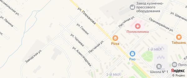 Улица Глинки на карте Шимановска с номерами домов