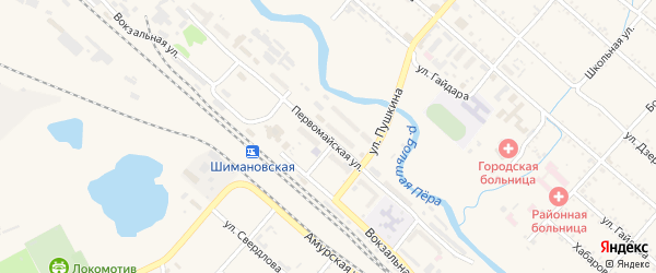 Первомайская улица на карте Шимановска с номерами домов