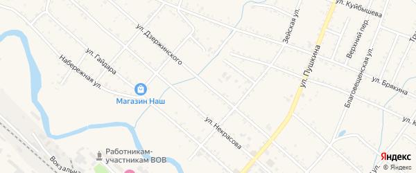 Улица Дзержинского на карте Шимановска с номерами домов