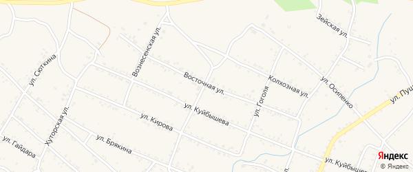 Восточная улица на карте Шимановска с номерами домов