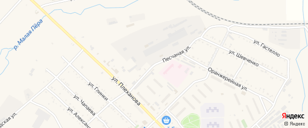 Песчаная улица на карте Шимановска с номерами домов