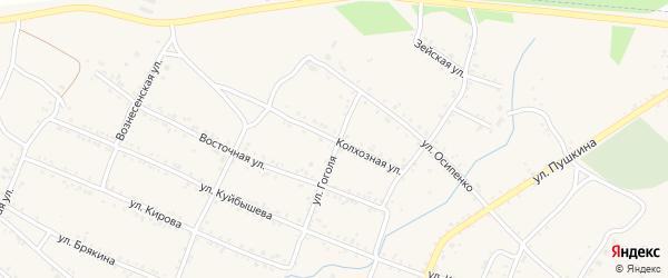 Колхозная улица на карте Шимановска с номерами домов