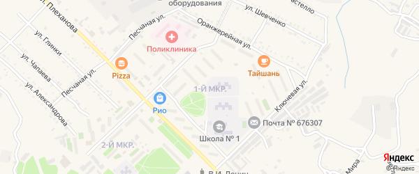 1-й микрорайон на карте Шимановска с номерами домов