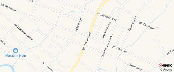 Улица Брякина на карте Шимановска с номерами домов