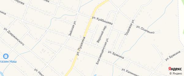 Угловой переулок на карте Шимановска с номерами домов