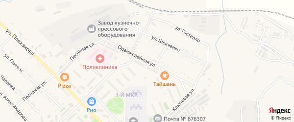 Оранжерейная улица на карте Шимановска с номерами домов