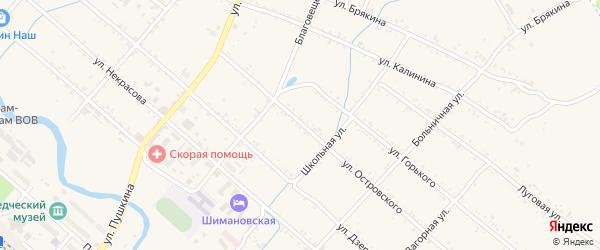 Улица Островского на карте Шимановска с номерами домов