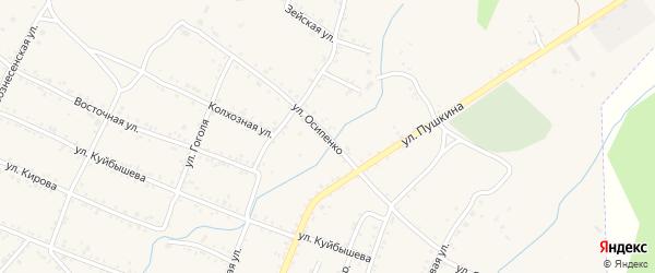 Улица Осипенко на карте Шимановска с номерами домов