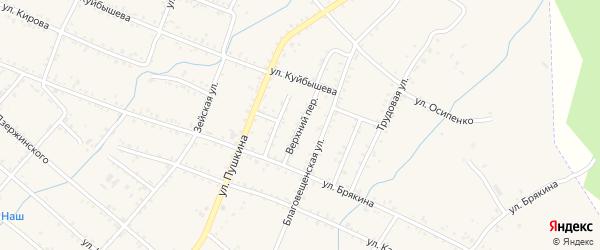 Верхний переулок на карте Шимановска с номерами домов
