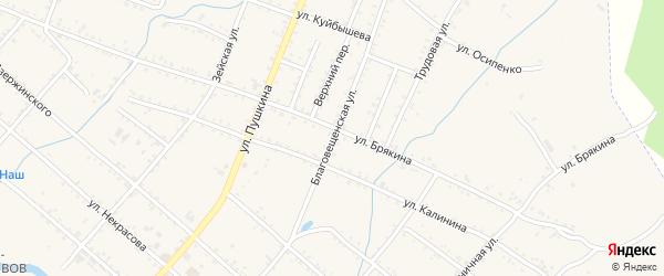 Благовещенская улица на карте Шимановска с номерами домов