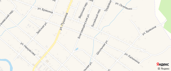 Улица Калинина на карте Шимановска с номерами домов