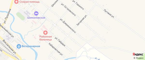 Загорная улица на карте Шимановска с номерами домов