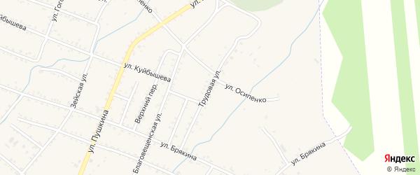 Трудовая улица на карте Шимановска с номерами домов