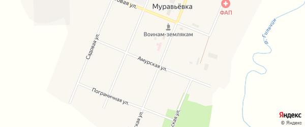 Амурская улица на карте села Муравьевки с номерами домов