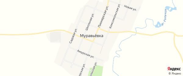 Карта села Муравьевки в Амурской области с улицами и номерами домов