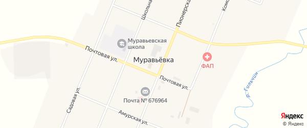 Пограничная улица на карте села Муравьевки с номерами домов