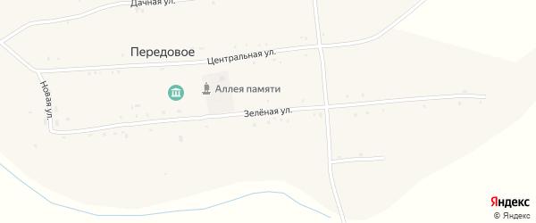 Зеленая улица на карте Передового села с номерами домов
