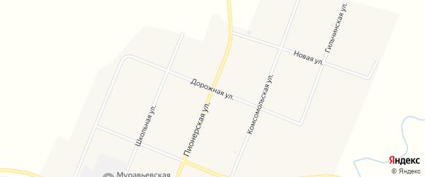 Дорожная улица на карте села Муравьевки с номерами домов